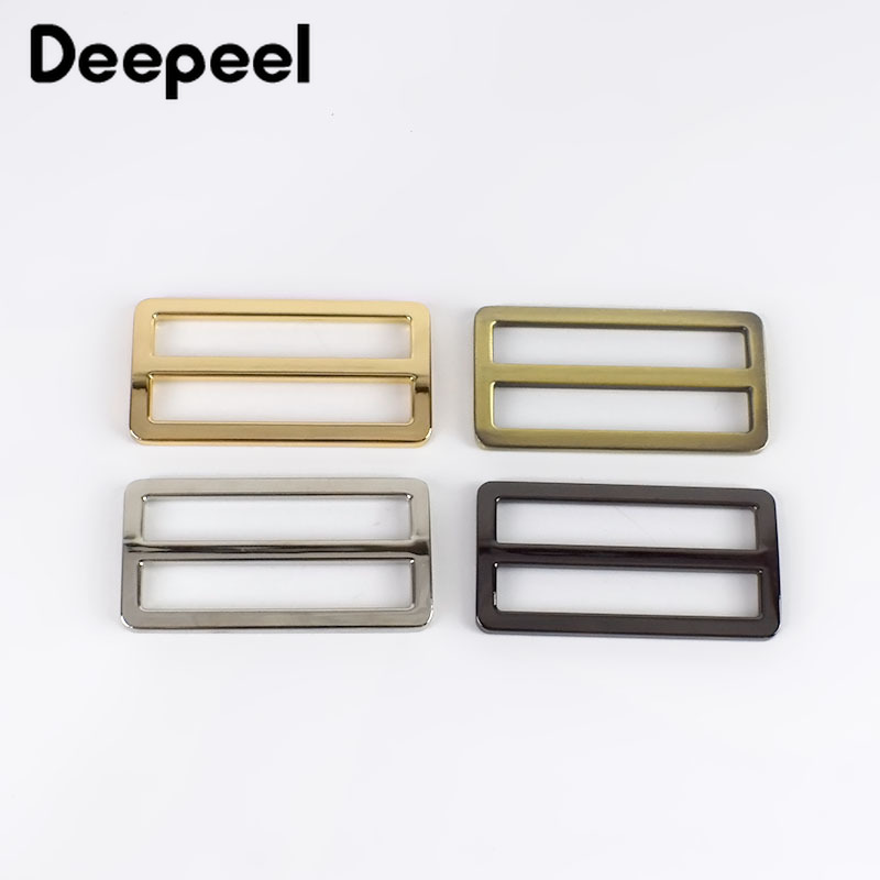 Deepeel 10pcs 50mm Metal Curved Tri Glide Adjust Buckles Belt Square Loop DIY Backpacks Shoes Bags Webbing Sewing Accessory F4-4