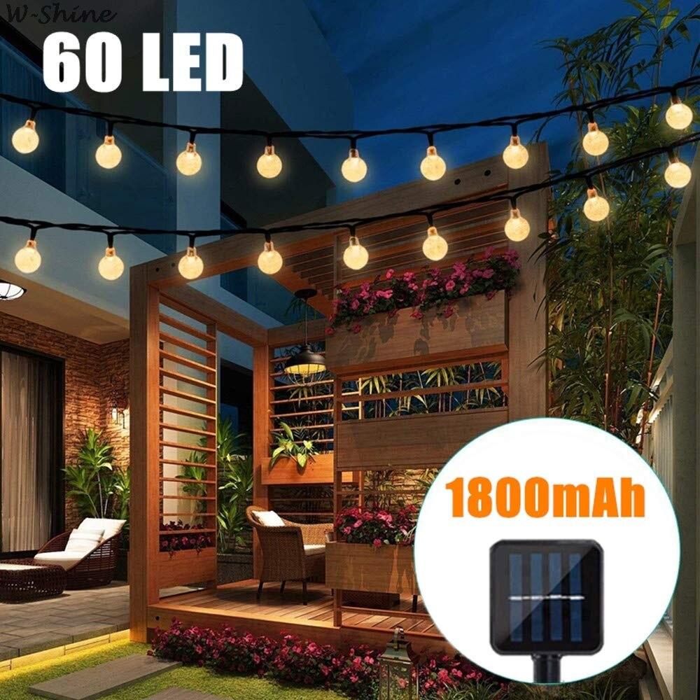 60 LED Solar Powered Bulbs String Lights Waterproof LED Fairy String Light For Outdoor Yard Garden Light Festival Decoration