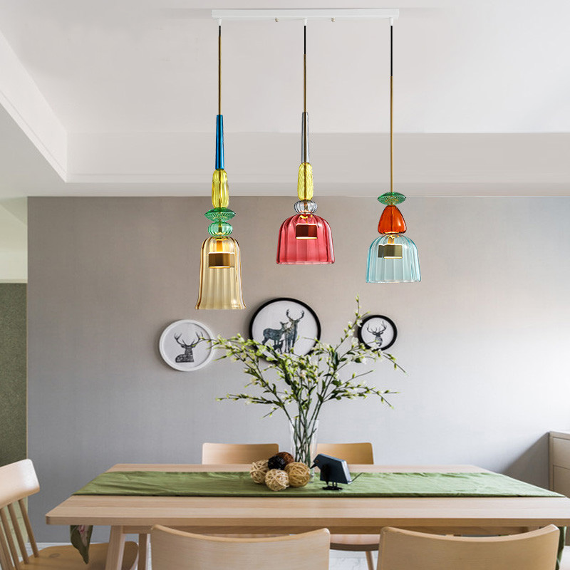 Image 2 - Nordic Color Candy Pendant Lights modern Living Room Bedroom Childrens Room Single Head Glass Hanging Lamps Home Decor Fixtures-in Pendant Lights from Lights & Lighting