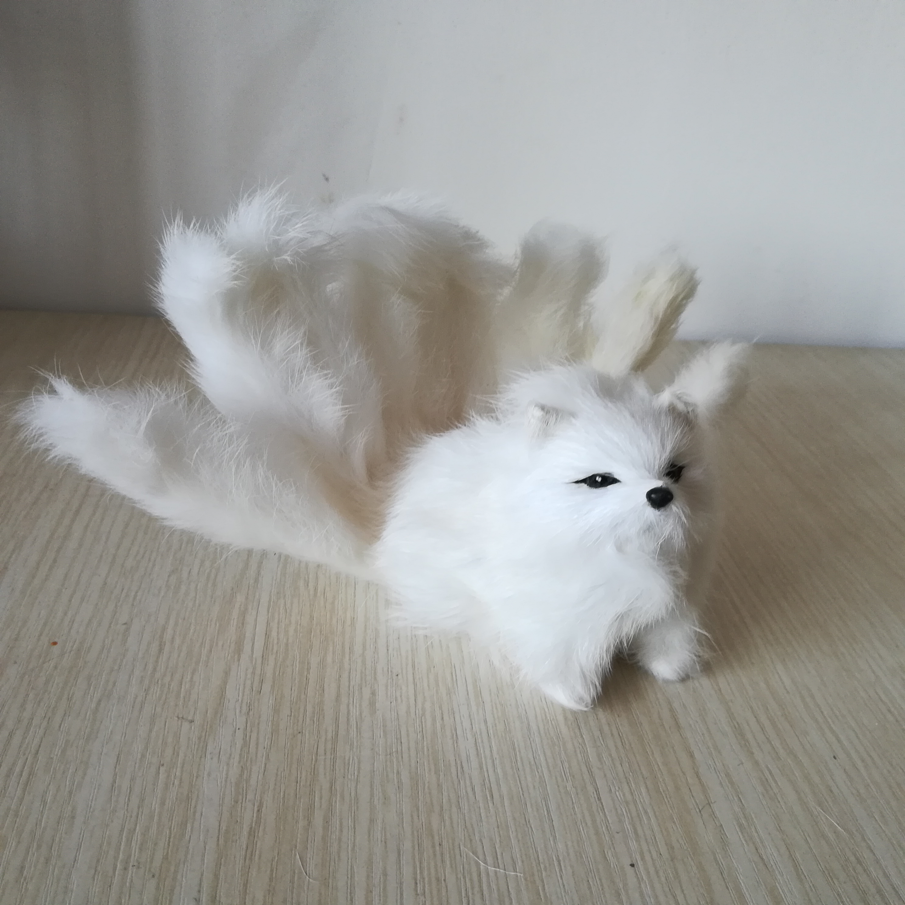 real life toy white fox with nine tails hard model furs fox about 18x7cm craft prop, home decoration gift h1396 image