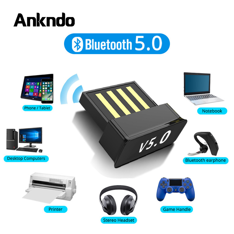 USB Bluetooth Adapters BT 5.0 USB Wireless Computer Adapter Audio Receiver Transmitter Dongles Laptop Earphone BLE Mini Sender