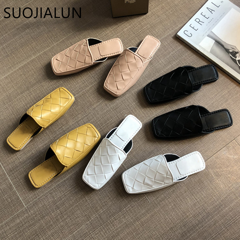 SUOJIALUN Women Mules Slipper Fashion High Quality Woven Leather Sandal Square Toe Flat Heel Casual Slides Slipper Shoes
