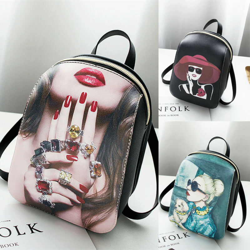 Women Backpack PU Leather Bags Floral Backbag Tote Purse Shoulder Floral Travel Backpack School Bags /BY