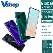 DOOGEE N20 Pro 6GB + 128GB globalna wersja Quad Camera telefony komórkowe Helio P60 Octa Core 6 3 #8222 FHD + Android 10 OS Smartphone tanie tanio Nie odpinany Rozpoznawania linii papilarnych Rozpoznawania twarzy Inne 16MP 4300 Nonsupport Funkcja telefony Nie ekran dotykowy