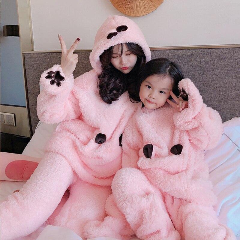 Flannel Cartoon Women Pajamas Set Autumn Winter Thick Warm  Coral Fleece  Sleepwear Homewear