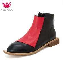 Fashion Shoes 2019 Spring/Autumn Women Shoes Genuine Leather Square Heel Ankle Boots for Women High Heel Boots Round Toe Shoes стоимость