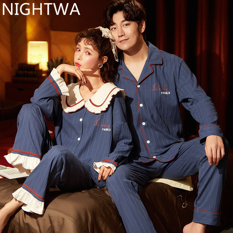 NIGHTWA Sweet Pajama Suit Cotton Pajamas Sets Couple Sleepwear Family Pijama Lover Night Suit Nightgown Women And Man Sleep 2PC