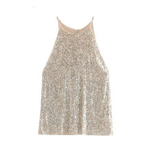2019 Summer Sequin Tops Women Elegant Halter Party Club Wear Womens Blouses Sleeveless Sequined Shiny Shirt