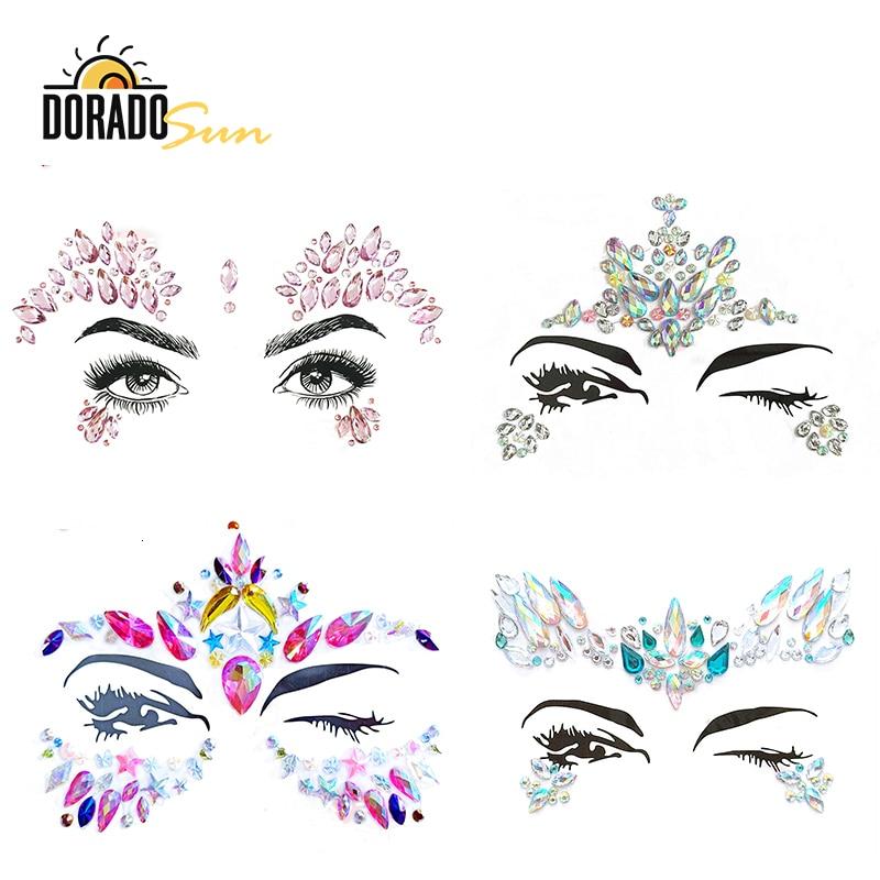 Doradosun Tattoo Stickers Face Drill Paste Bohemia Tribal Style 3D Crystal Sticker Jewels Forehead Temporary Tattoo Sticker