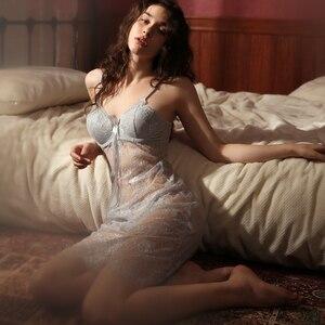 Image 5 - 夏の女性のパジャマレースの胸パッドアンダーミニナイトドレスセクシーなナイトガウン女性のランジェリー誘惑スリップ寝間着