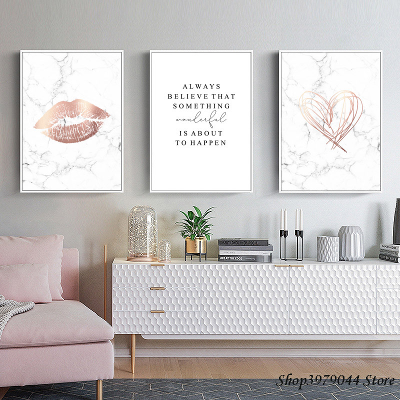 Marble Style Posters And Prints Nordic Poster Pink Abstract Painting Art Letter Quadro Wall Pictures For Living Room Unframed