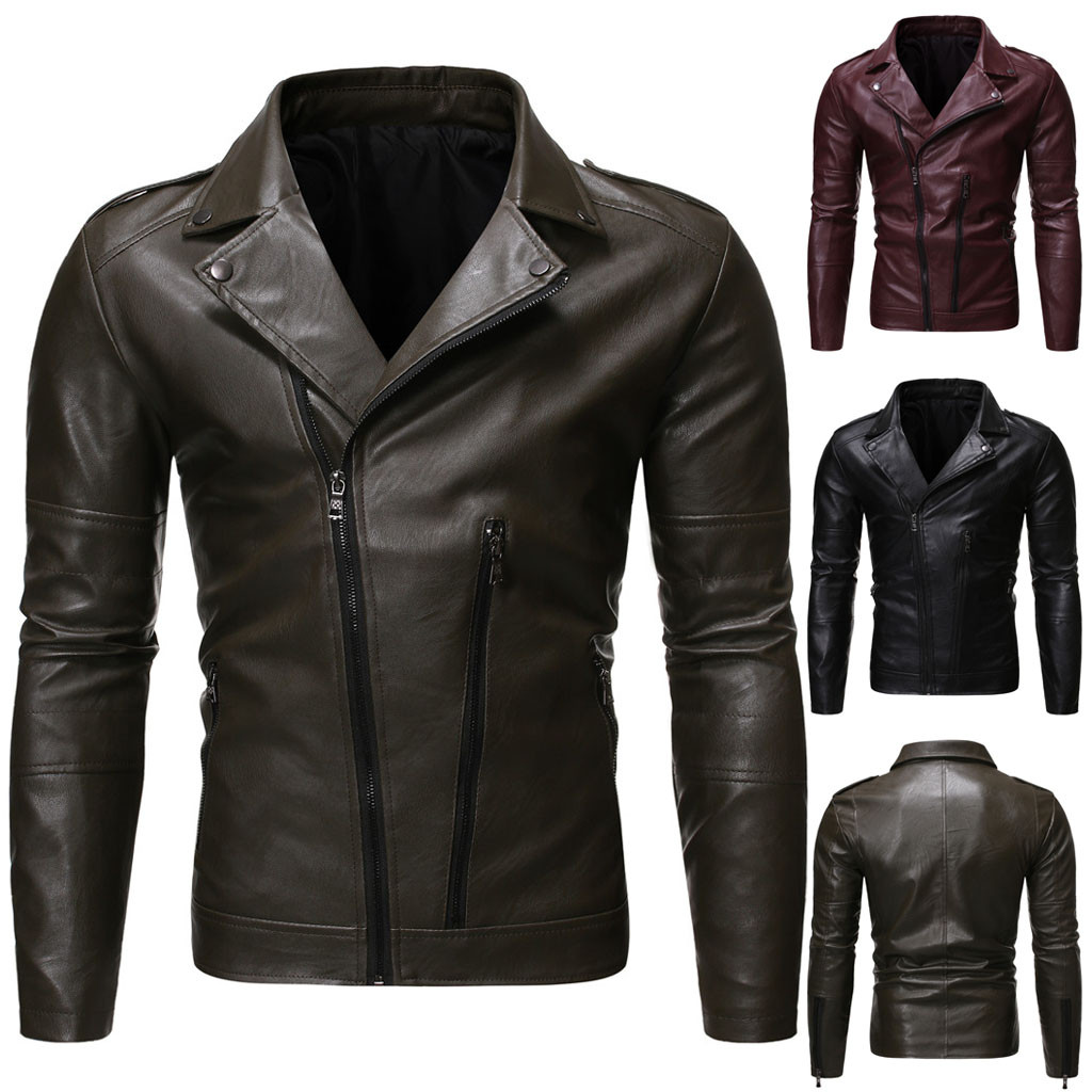 Casaco Jaqueta Masculino Chaqueta Hombre Coat Men's Autumn Winter Casual Long Sleeve Solid Thicken Hooded Leather Jacket Top