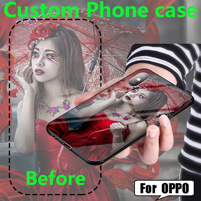 Customize DIY Tempered Glass Case For OPPO Realme X2 XT K5 Case Silicone Cover for OPPO AX7 A5S AX5 A7N A12E A12 Case Coque image