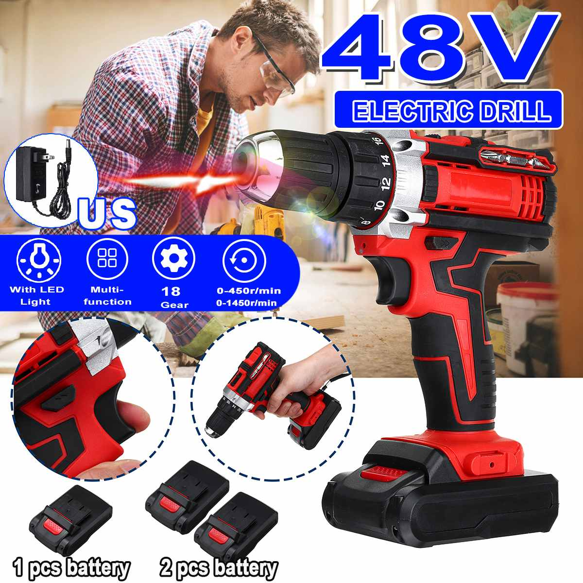3 In 1 Cordless Electric Drill Screwdriver 48V 18 Gear Torque 2 Speed Mini Wireless Power Driver With 2 Rechargeable Battery