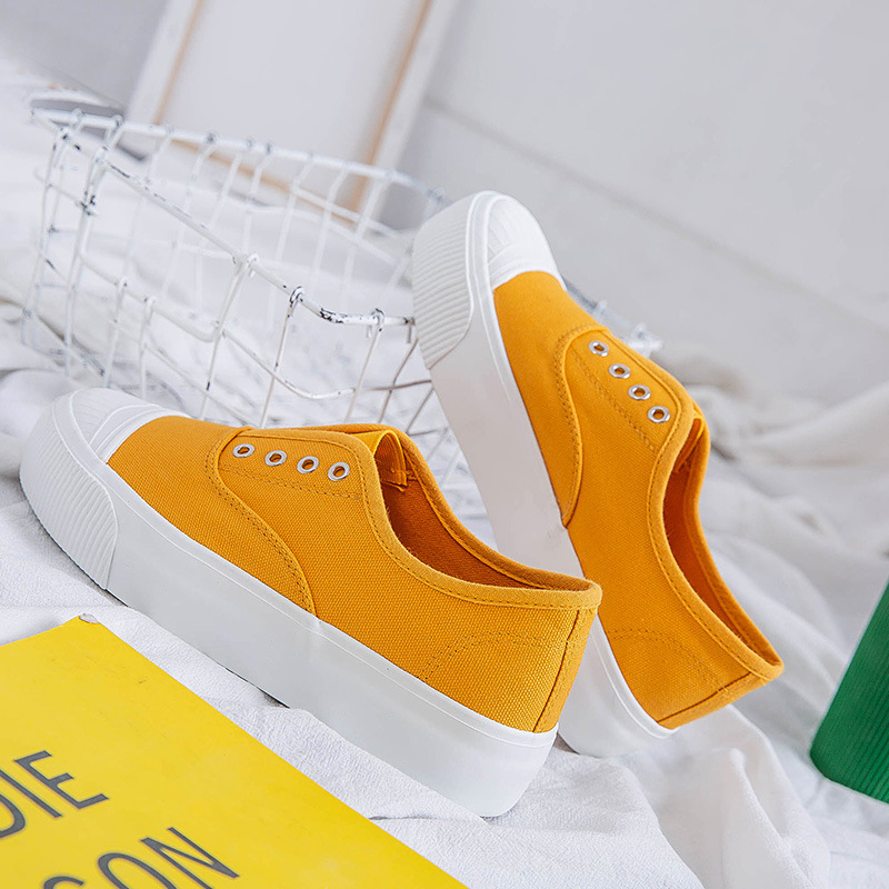 2019 Summer New Style Low Top Canvas Shoes Korean style Fashion Breathable Elastic White Shoes Low Top Women's Thick Bottomed Sh|Shoe Racks & Organizers| |  - title=