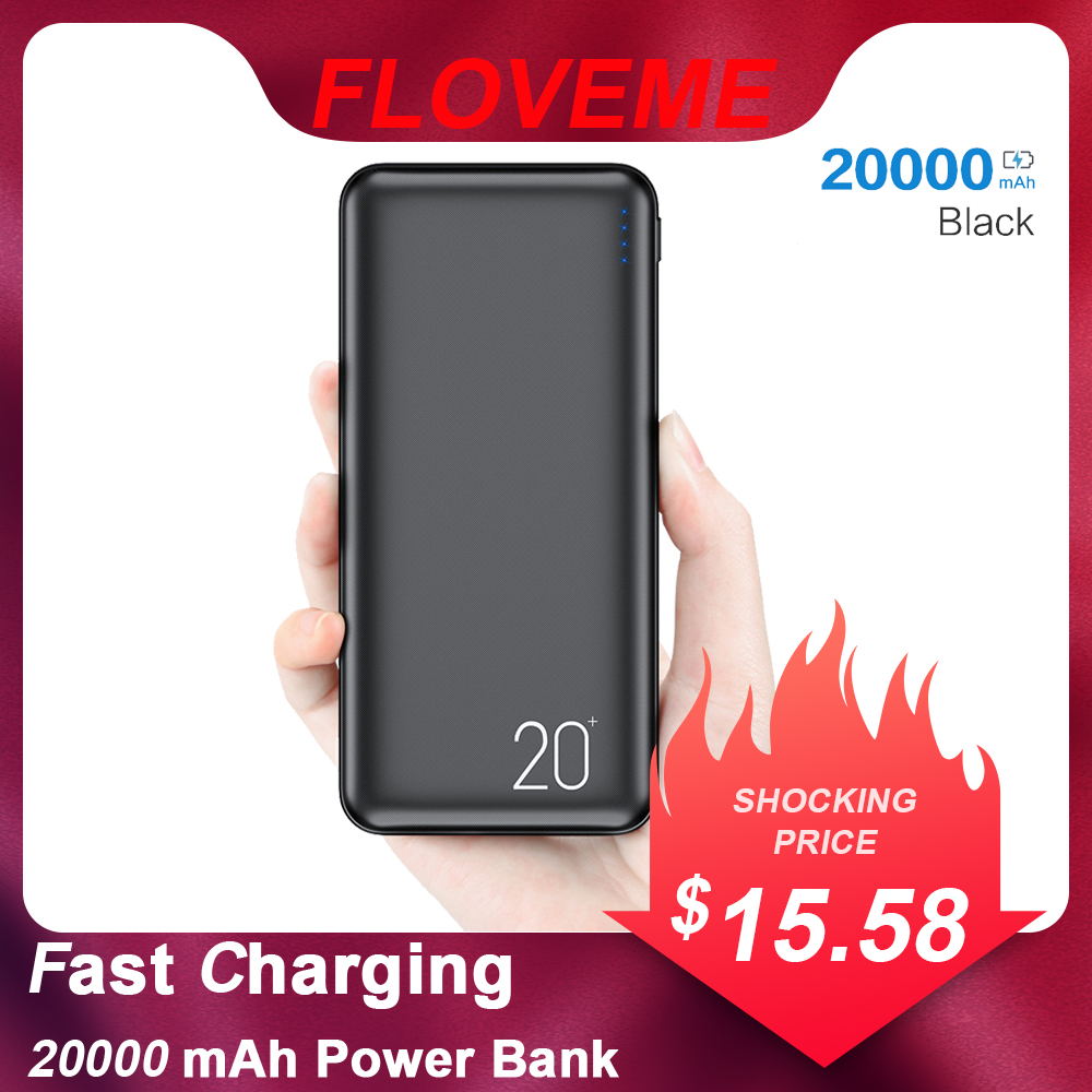 FLOVEME 2 USB Charger 20000mAh <font><b>Power</b></font> <font><b>Bank</b></font> Portable Charging For Xiaomi Powerbank External Battery Charger Powerbank <font><b>20000</b></font> mAh image