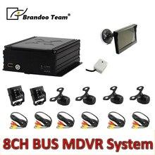 6 stücke kamera MDVR kit ,8 kanal HDD 960H auto DVR kits für bus, freies verschiffen