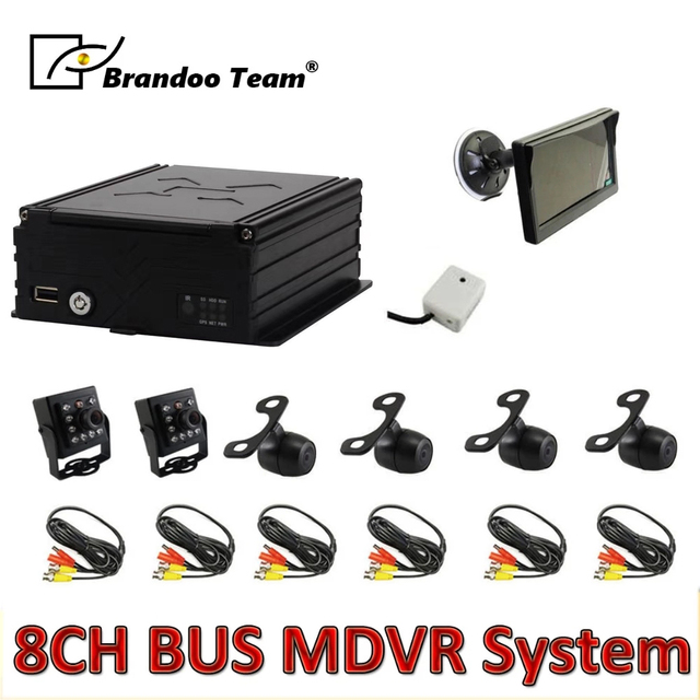 6pcs macchina fotografica MDVR kit ,8 canali HDD 960H auto kit DVR per il bus, trasporto libero