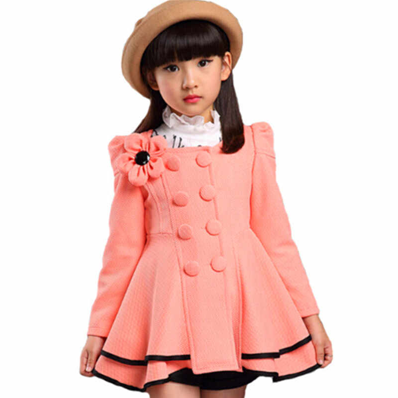New Girls jacket Lady children's clothing Spring autumn trench coat kids jacket flower girls coats Wind Dust Outerwear long coat