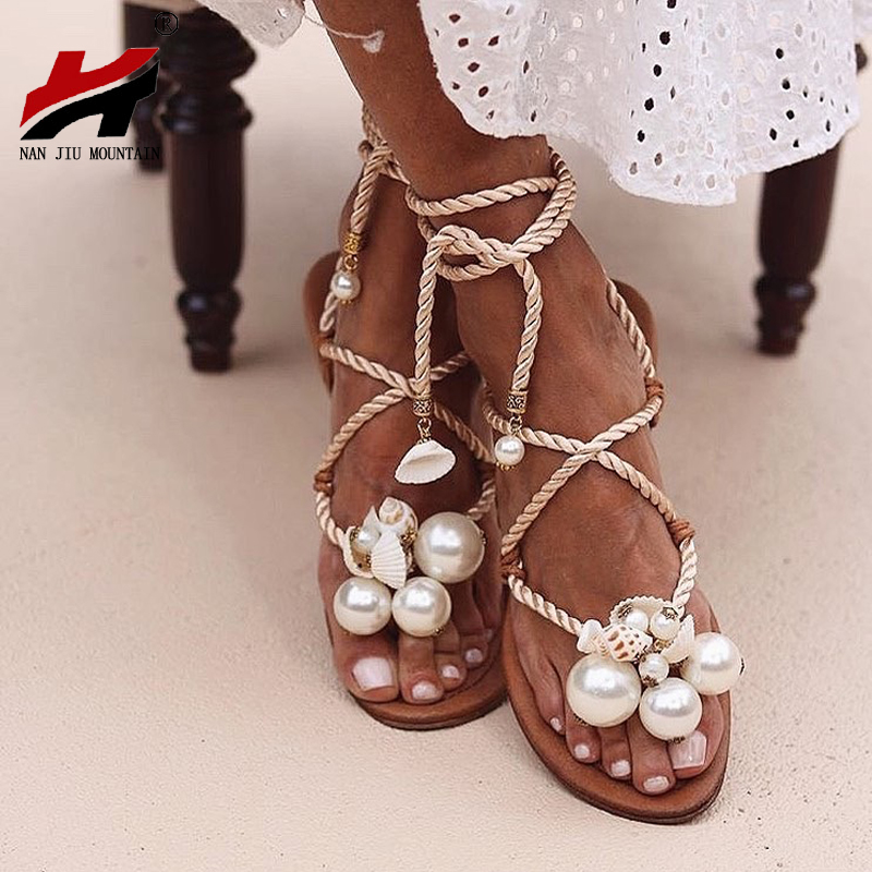 NAN JIU MOUNTAIN Summer Sandals Women's Flat Sandals Handmade Beads Pearl Shells Ankle Straps Plus Size 35 - 43 Women Shoes