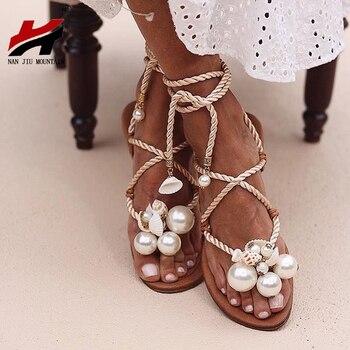 NAN JIU MOUNTAIN Summer Sandals Women's Flat Sandals Handmade Beads Pearl Shells Ankle Straps Plus Size 35 - 43 Women Shoes