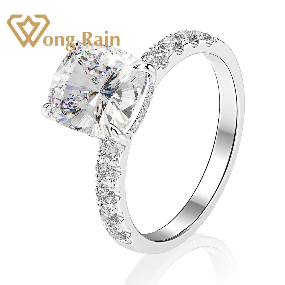Wong Rain Luxury 100% 925 Sterling Silver Radiant Created Moissanite Gemstone Wedding Engagement Ring Fine Jewelry Wholesale