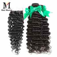 Diepe Golf Bundels Met Sluiting Braziliaanse Hair Weave Bundels Sluiting Met Bundels 8-28 Inch Remy Human Hair Bundels met Sluiting