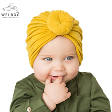 Baby Hats Caps Turban-Cap Cloth Yellow Cotton Children New Solid Donut Red Knot Soft