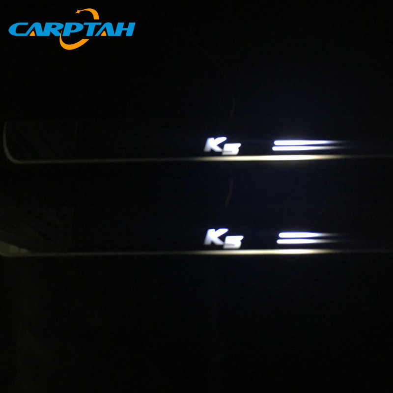 CARPTAH לקצץ חיצוני מכונית דוושת חלקי LED דלת אדן שפשוף צלחת מסלול סרט דינמי אור לקאיה אופטימה K5 2015 -2018