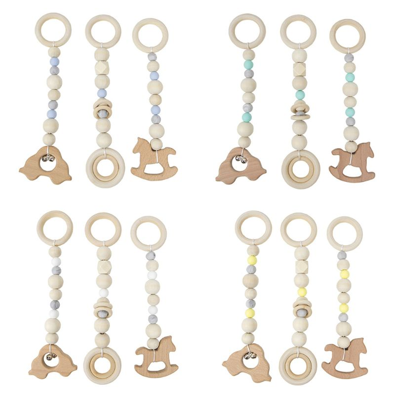 3 Pcs/set Nordic Baby Gym Frame Game Pendants Sensory Nursery Ring-pull Toy Wooden Clothes Rack Kids Room Decoration Gifts