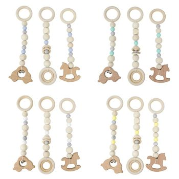 3 Pcs/set Nordic Baby Gym Frame Game Pendants Sensory Nursery Ring-pull Toy Wooden Clothes Rack Kids Room Decoration Gifts - discount item  34% OFF Baby & Toddler Toys