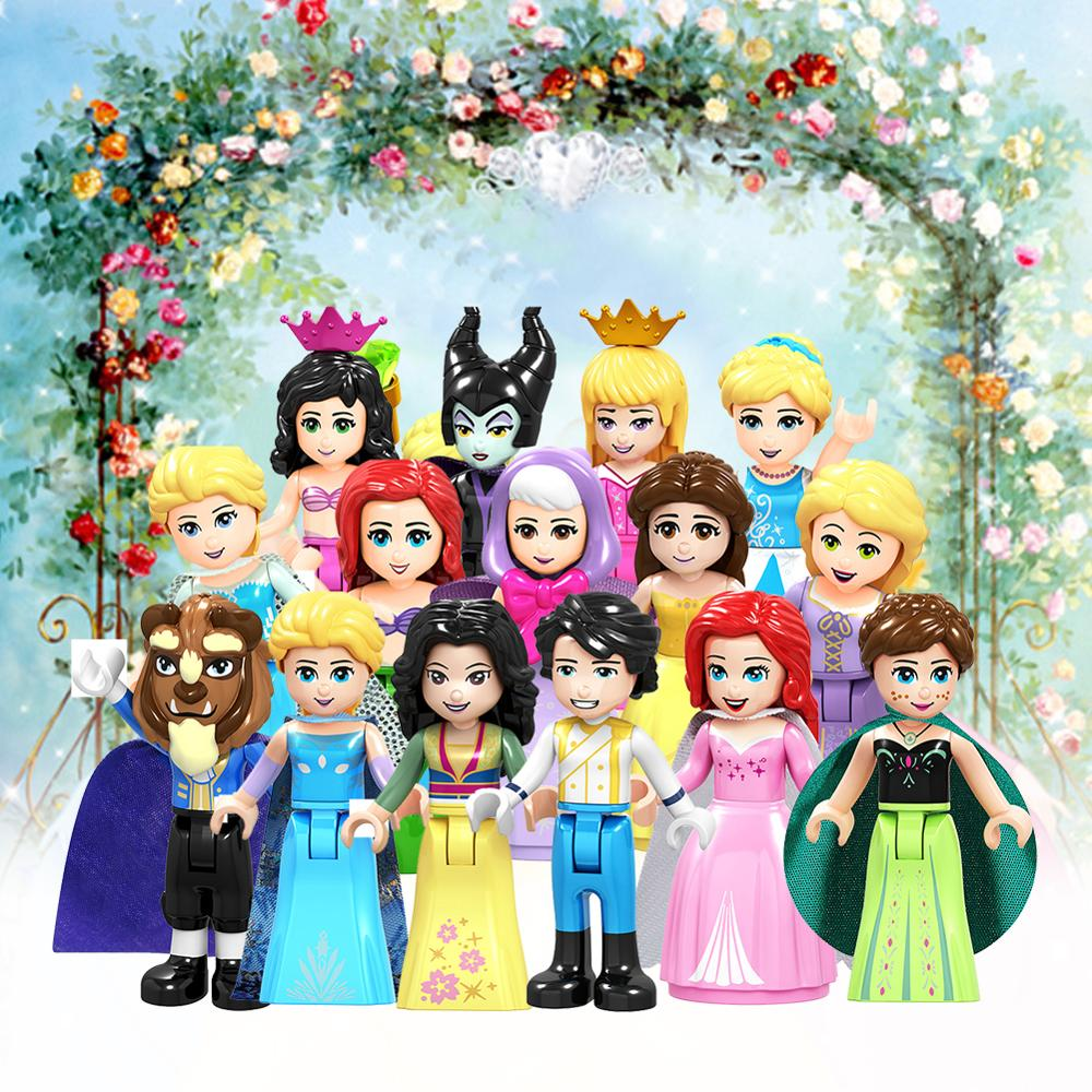 Fairy Tale Princess city Series Cinderella White Snow Doll Elsa Playmobil Building Blocks Friends Toys Bricks for Children Girls