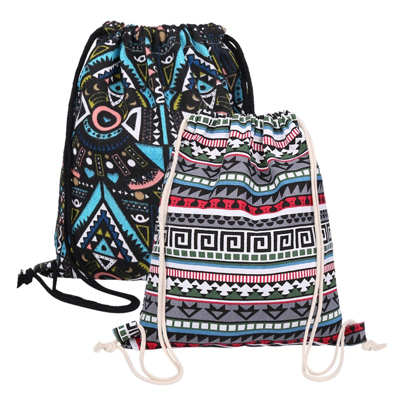 2 PC/Set Ethnic Style Drawstring Bag Canvas String Backpack Outdoor Travel Portable Shoulder Bag Clothes Storage Pouch Bag New