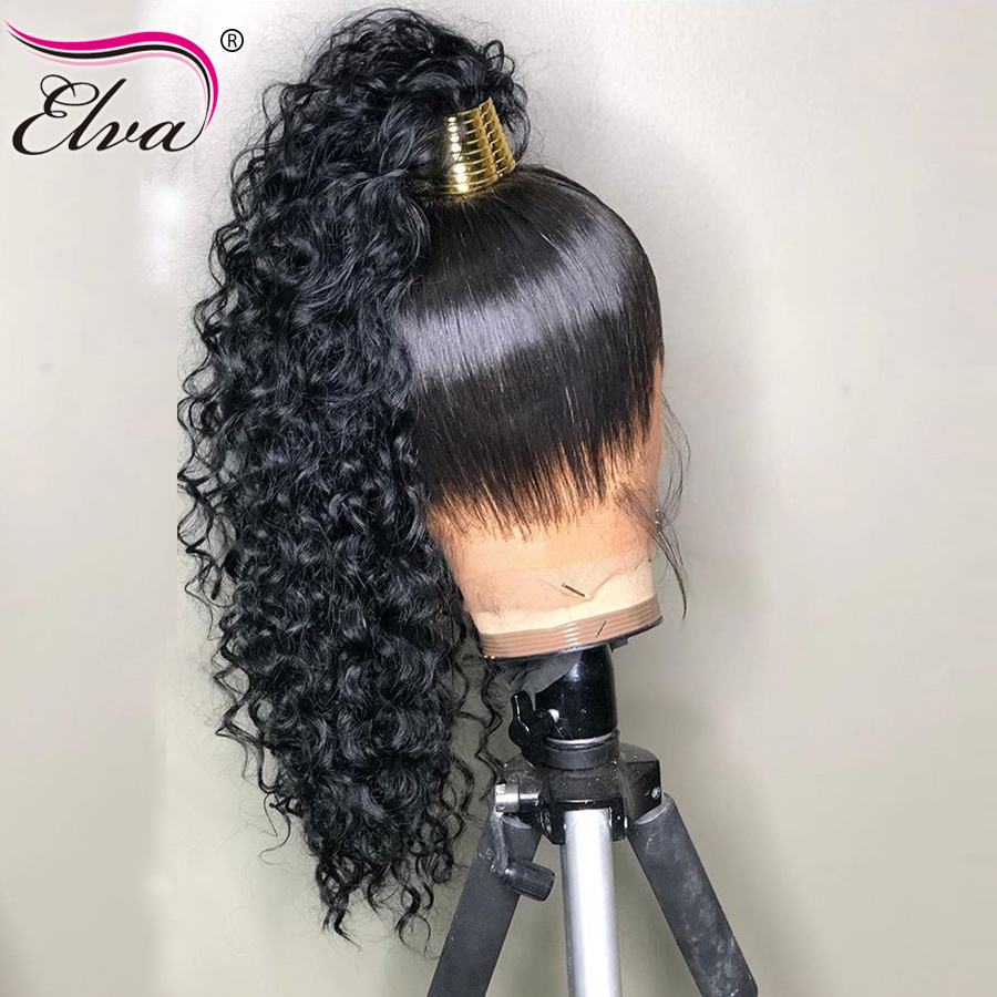 Water Wave 360 Lace Frontal Human Hair Wigs For Black Women Elva Hair Human Hair Wigs Pre Plucked Baby Hair Remy 360 Frontal Wig