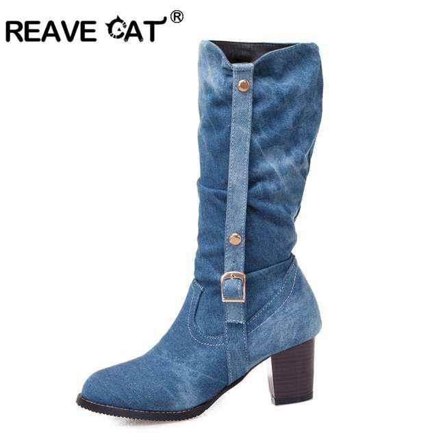 REAVE KEDI büyük boy 46 orta buzağı çizmeler kadın Kış batı kovboy patik kare topuklu fermuar toka mavi kot ayakkabı Bayan Ayakkabıları