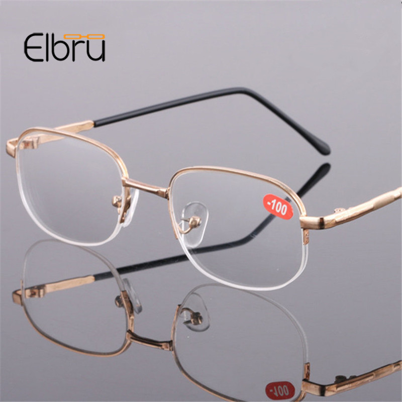 Elbru Rimless Myopia Glasses Men&Women Luxury Gold Frame Lens Shortsighted Eyeglasses Diopter -1.0 -1.5-2.0 -2.5 -3.0 -3.5 -4.0