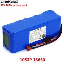 LiitoKala batería de litio para motocicleta, patinete eléctrico con BMS, 36V, 10000mAh, 500W, alta potencia y capacidad, 42V, 18650
