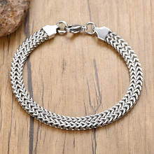 Double Silver Byzantine Chain Men Bracelet Stainles Steel Wristband Chunky Link For Boyfriend Guys Husband(China)