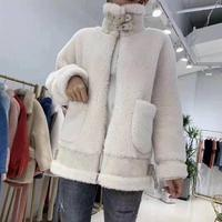 wool blends suede leather winter coat women sheep fur parka 2019 new abrigo mujer female clothing real price wool fur coats