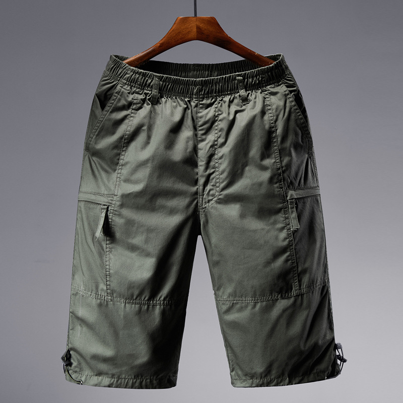 Men's Plus-sized Capri Pants Loose Casual Sports Shorts Men's Fat Multi-pockets 7 Points Workwear Shorts Thin