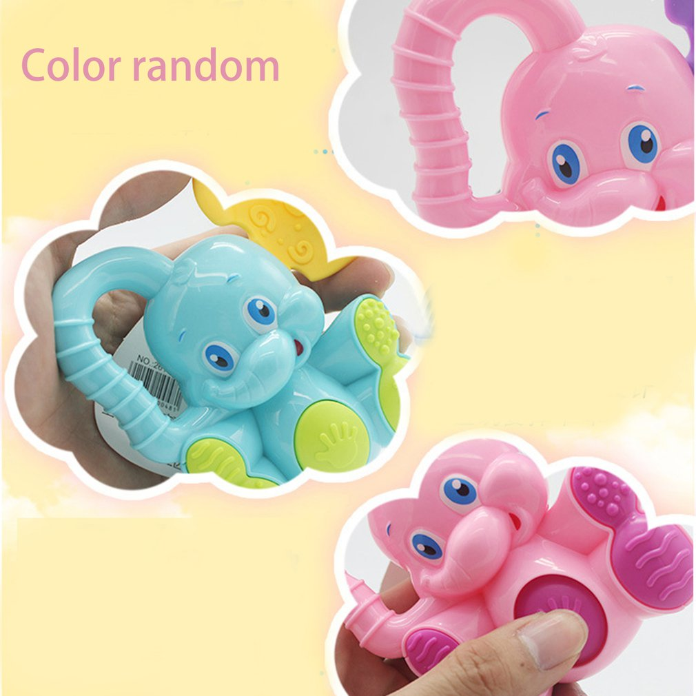 Plastic Elephant Animal Hand Jingle Shaking Bell For Children Kids Learning Educational Tool Toy Baby Toddler Musical Toys Gift