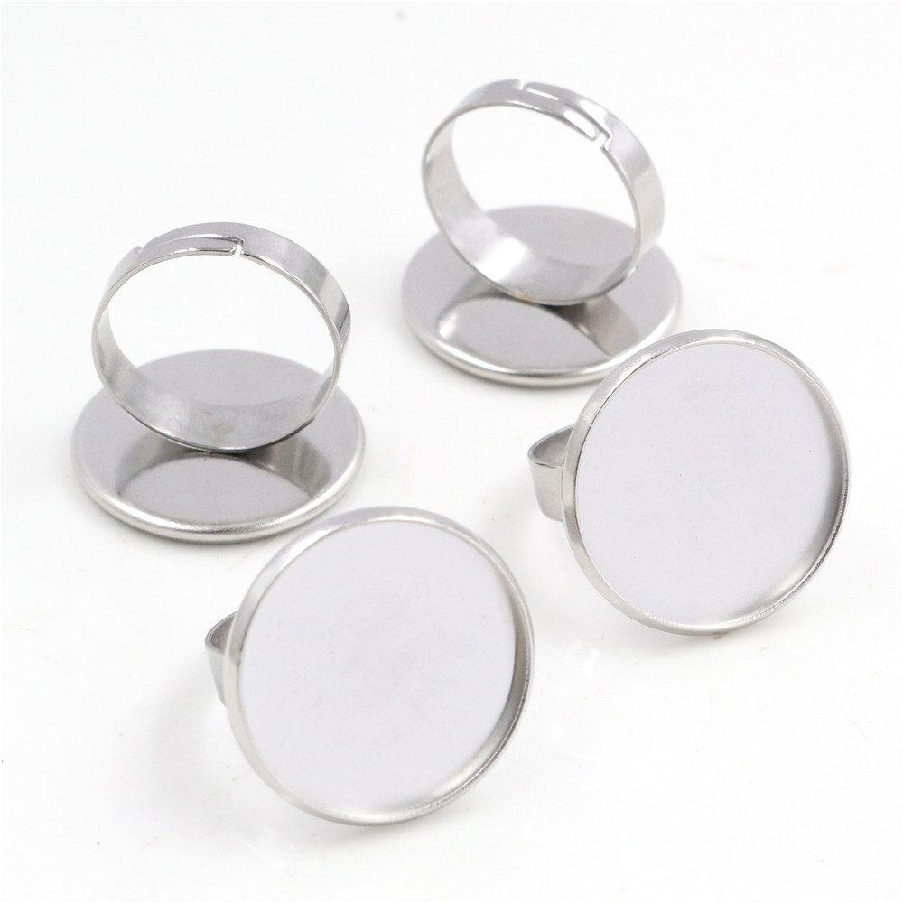 20mm 10pcs/Lot No Fade Stainless Steel Adjustable Ring Settings Blank/Base,Fit 20mm Glass Cabochons-T1-20