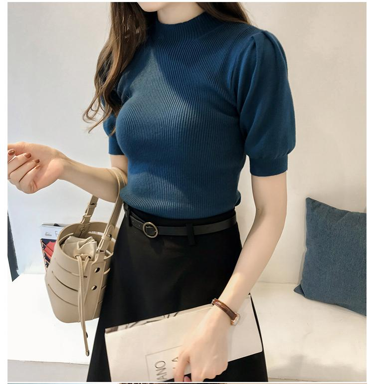 Half Turtleneck Knitted T-shirts Tops Woman Slim Short Puff Sleeve Buttons Soft Solid Autumn T-shirt Tee Female 6