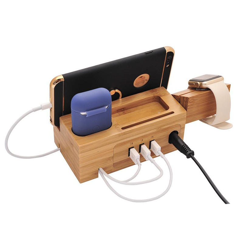 Natural Bamboo Bracket for Apple Watch Charging Dock Stand Cradle 3 USB Port Phone Holder For iPhone Samsung Charger for Airpod