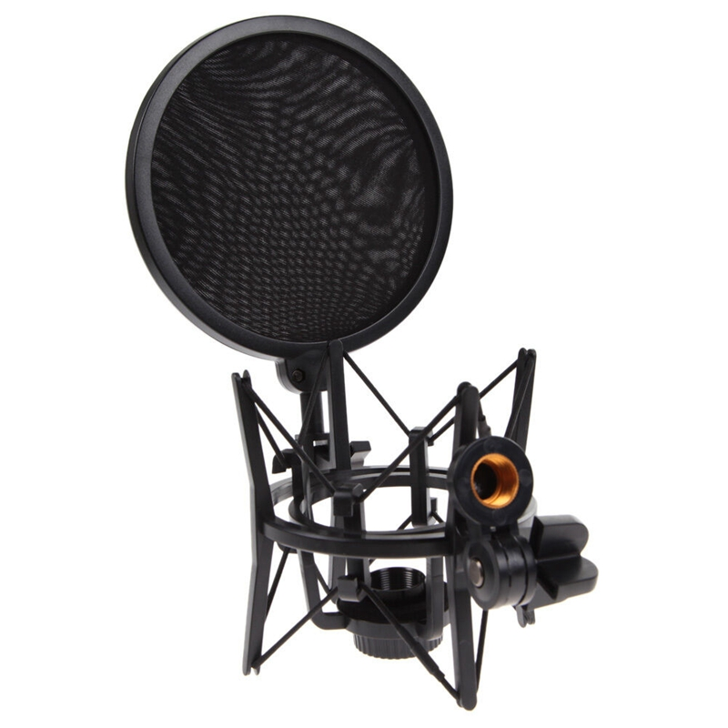 Professional Microphone Mic Shock Mount with Shield Articulating Head Holder Stand Bracket for Studio Broadcast
