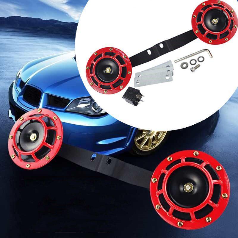 Voiture Électrique Explosion Aérienne Corne Kit avec Support 2 pièces 12V 115DB Grille De Voiture Klaxon Universel pour Voiture Camion Moto