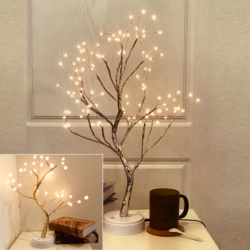 LED Copper Wire Tree Shape Night With Touch Sensor Switch Decoration Battery USB Led Table Lamp Table Light