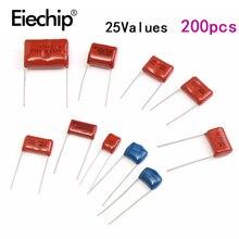 Комплект конденсаторов для металлопленочных конденсаторов 630 в 0,001 мкФ 2,2 мкФ, 25 значений, высокочастотный комплект конденсаторов 0,1 мкФ 0,22 мкФ 0,33 мкФ 1 мкф 200 шт.