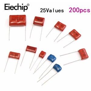 Image 1 - Kit surtido de condensadores de película de Metal, 200 Uds., 630V, 0.001uf 2,2 uf, 25 valores, conjunto de condensadores de alta frecuencia, 0,1 uf, 0,22 uf, 0,33 uf, 1uf