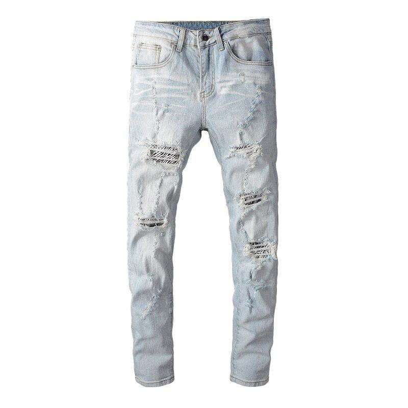 Sokotoo Men's Zebra Print Patchwork Crystal Ripped Jeans Slim Skinny Light Blue Holes Distressed Denim Pants